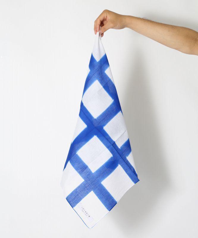 画像1: 板締染 BAN-SHIKI 格子型ブルー (1)